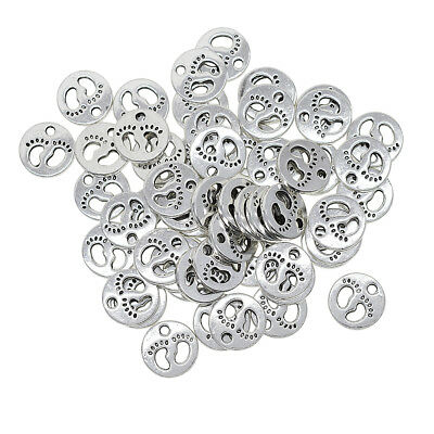 50pcs Baby Footprint Silver Plated Charms Pendant for Jewelry Craft Bracelet