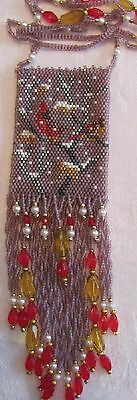 hand beaded Cardinal in winter Amulet Bag