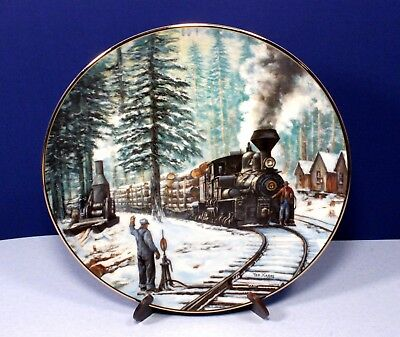"""Hamilton Collection Winter Rails Train Plate """"Timber Line"""" - Signed"""