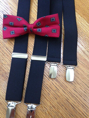 Preteen Boys/teen Red Silk Bow & Blacksuspenders - Brand New! Made In The Usa