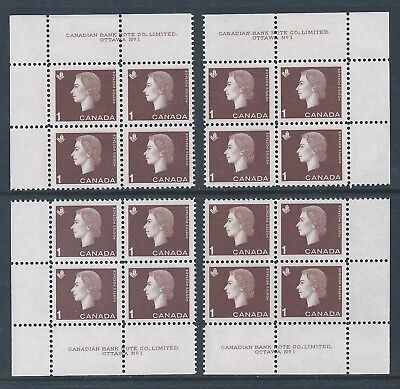 Canada #401 PL BL #1 Queen Elizabeth II Matched Set Plate Block MNH