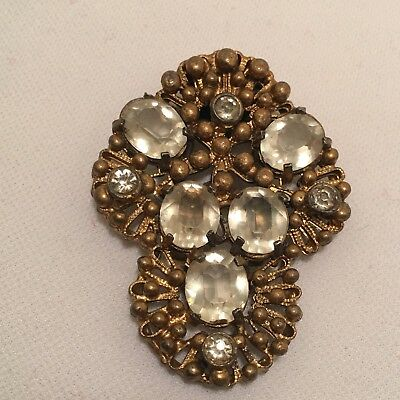 Vintage Painted Gold Pot Metal & Clear Paste Rhinestones Ornate Dress Clip!