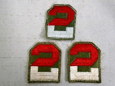 Lot of 3 Original WW2 US Army 2nd Second Army SSI Patch WWII