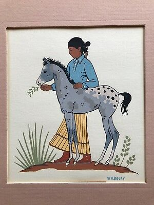 """Harrison Begay Navajo Girl/young Pony   Silkscreen  Matted 10.5"""" X 9.75"""""""