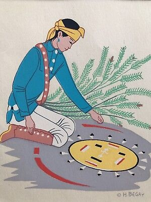 "HARRISON BEGAY NAVAJO BOY /SAND PAINTING  Silk Screen  matted 10"" X 8"""