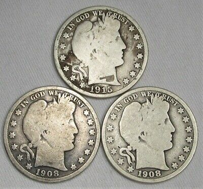 Barber Silver Half Dollars Lot of 3 1908-O(2), 1915-S AG81