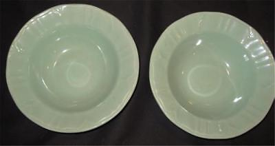 """Gibson Everyday Housewares 8""""D TWO Mint Green Soup Plates"""