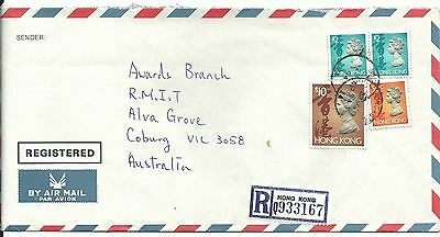 China Hong Kong registered airmail cover $14.50 rate to Australia 1994