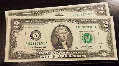 Rare Crisp 2013 Uncirculated $2 Bill Two Dollar A Note Sequential Order (1117G)