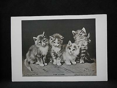 Small Antique Print Perry Pictures FOUR KITTENS by ADAM 1924