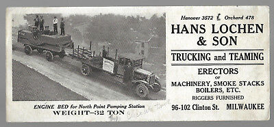 Vintage Early 1900's Hans Lochen Trucking Advertisement Ink Blotter..Ford Truck