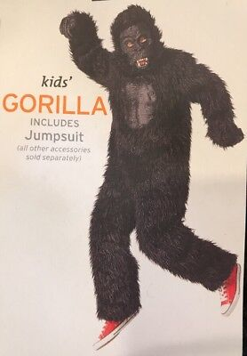 Youth Kids Size XL Furry Gorilla Ape King Kong Suit Halloween Costume Black