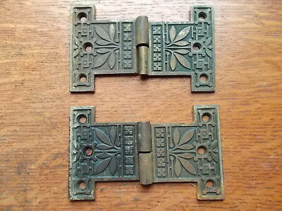 Two Antique Fancy Ornate Victorian Craftsman Cupboard Door Hinges  c1885