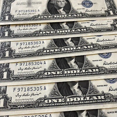 Six 1957 U.S. Blue Seal $1 Silver Certificates in Sequential Order