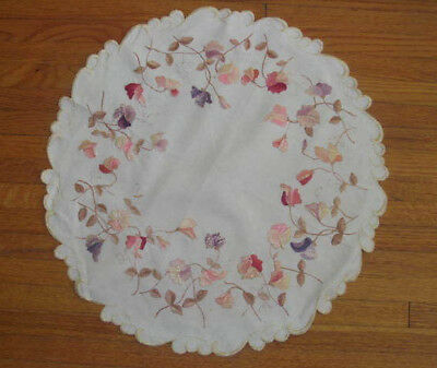 """FABULOUS Fine Embroidered VIOLETS Antique Society Silk Centerpiece Doily~21"""""""