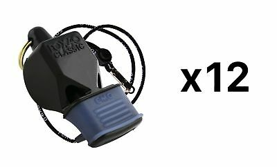 Fox 40 Classic CMG 3-Chamber Pealess Whistle w/ Lanyard, Black (Pack of 12)