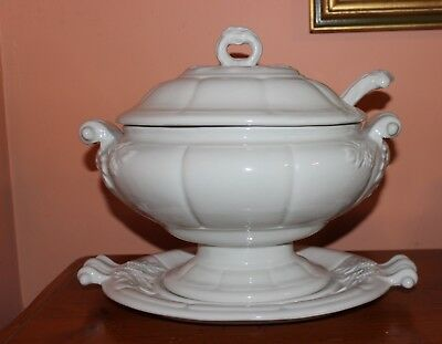 Red Cliff Large Soup Tureen w/Lid Ladle & Underplate White Ironstone