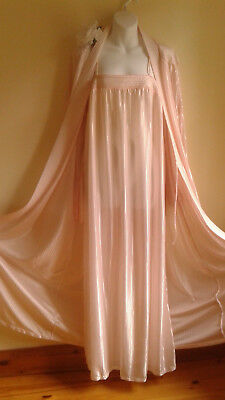 """vintage Peignoir and Gown Slumber Suzy Canada Pearl Pink Sz LARGE 46"""""""