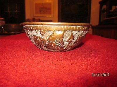 an excellent Antique Repousse Brass Kashmiri Finger Bowl, with animals