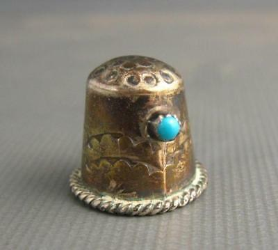 Vintage Navajo Sterling Thimble Turquoise