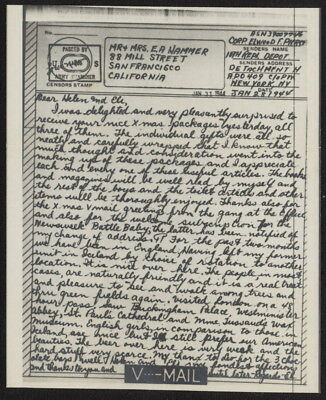 1944 US V-Mail 10th Replacement Depot, Det H (Southampton, England) APO 409, NY