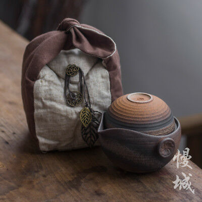 Ceramic Travel Gongfu Tea Set Teapot & Two Teacups In Cotton Bag