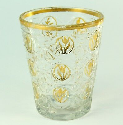 ! Antique 1700s Clear Crystal Cut Glass Hand Blown Tumbler with Guilt Tulips