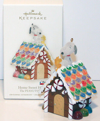 2008 HOME SWEET HOME Snoopy NEW Hallmark Woodstock Gingerbread DogHouse Ornament