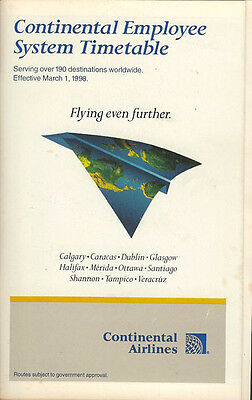 Continental Airlines system timetable 3/1/98 [308CO] Buy 2 Get 1 Free