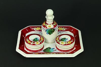 ! Antique c.1830's Vanity Set Old Paris Hand Painted Fine Porcelain 4 pc Magenta