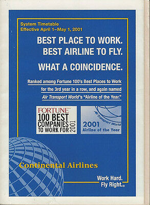 Continental Airlines system timetable 4/1/01 [308CO] Buy 2 Get 1 Free