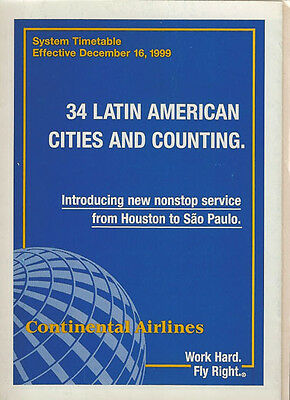 Continental Airlines system timetable 12/16/99 [308CO] Buy 2 Get 1 Free