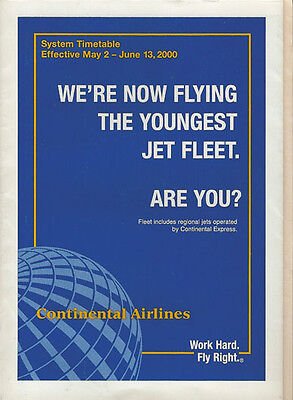 Continental Airlines system timetable 5/2/00 [308CO] Buy 2 Get 1 Free
