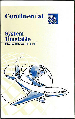 Continental Airlines system timetable 10/30/94 [308CO] Buy 2 Get 1 Free