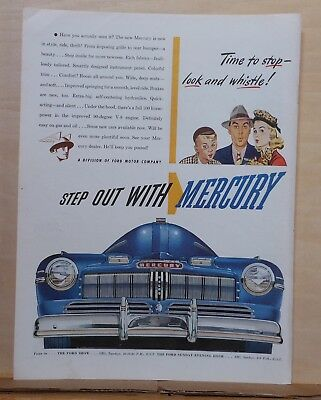 1945 magazine ad for Mercury - Time to Stop Look & Whistle, front end view