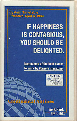 Continental Airlines system timetable 4/4/99 [308CO] Buy 2 Get 1 Free