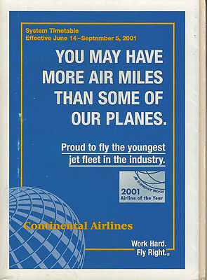 Continental Airlines system timetable 6/14/01 [308CO] Buy 2 Get 1 Free