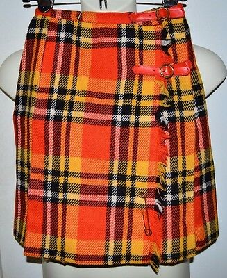 Vintage NWT PANDORA Costume Maker Orange Black Plaid Wool Blend Skirt Size 8
