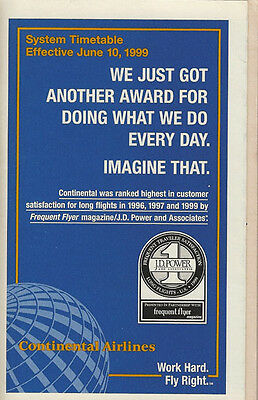Continental Airlines system timetable 6/10/99 [308CO] Buy 2 Get 1 Free