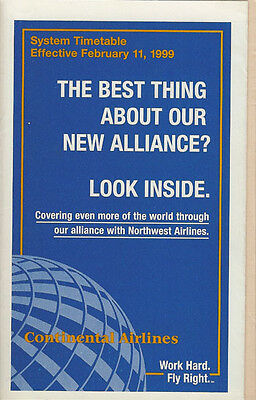 Continental Airlines system timetable 2/11/99 [308CO] Buy 2 Get 1 Free