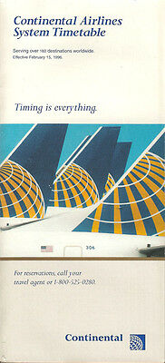 Continental Airlines system timetable 2/15/96 [308CO] Buy 2 Get 1 Free