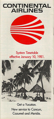 Continental Airlines system timetable 1/10/81 [308CO] Buy 2 Get 1 Free