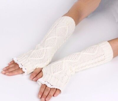 Fingerless Long Womens Gloves Ivory Knit Lace Open Fingertip Elbow Cableknit
