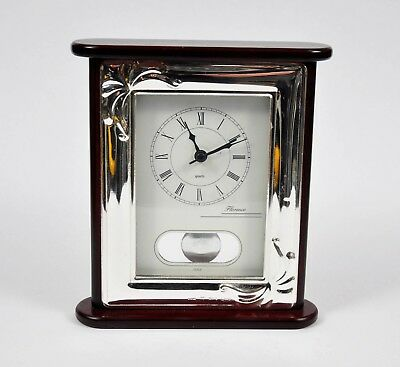 Italian STERLING SILVER & Cherry Wood 'Florence' Quartz Desk CLOCK - Stamped 925