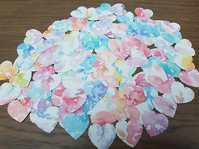 100 Heart Shape Embellishments 4 Cards/Wedding/Crafts/Tags Pastel Mixed Floral
