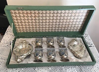 Cobalt Blue & Silver Elaborate Cordial Set 6 Glasses Boxed  Made In Japan
