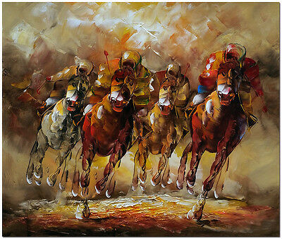 Cheltenham Festival - Signed Hand Painted Horse Racing Oil Painting On Canvas