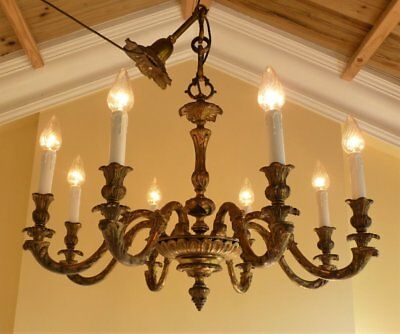 Huge Grand * Heavy Quality Antique Vintage Gilt Brass French Rococo Chandelier