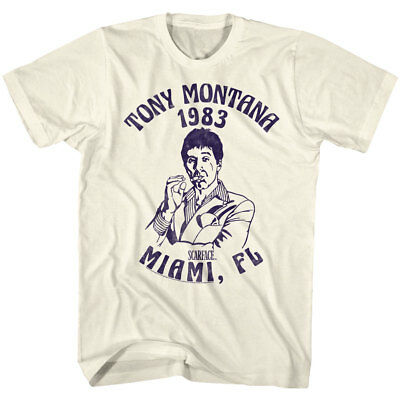 Scarface Tony Montana 1983 Miami FL Licensed Adult T Shirt Classic Movie