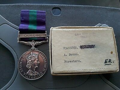 General Service Medal clasp MALAYA - to 23418862 Pte A.B. BACON  FORESTERS.